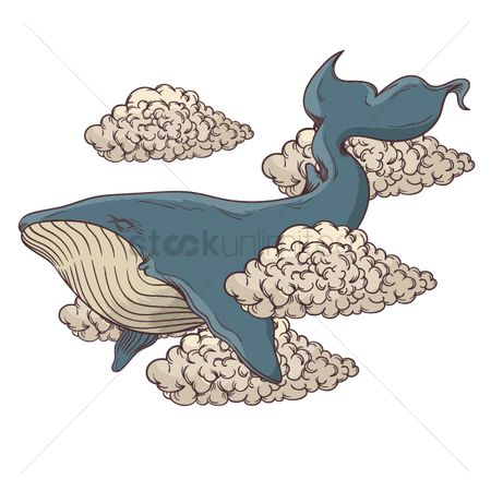 Marine life : Whale tattoo design