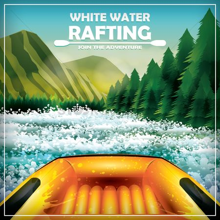 Mountains : Whitewater rafting poster