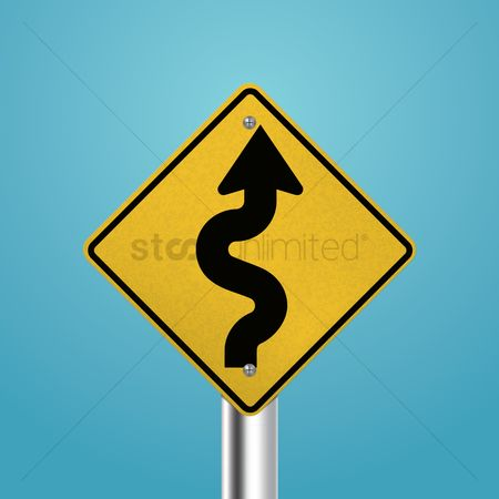 Attention : Winding road signboard