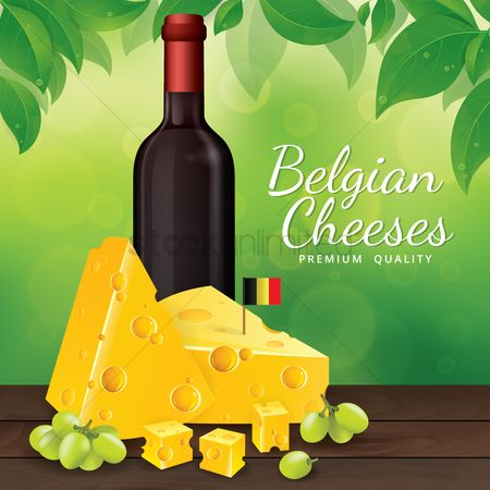 Belgium : Wine bottle and cheese