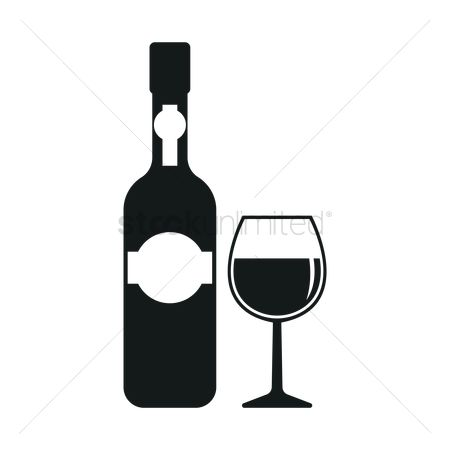 Red wines : Wine bottle and cup silhouette