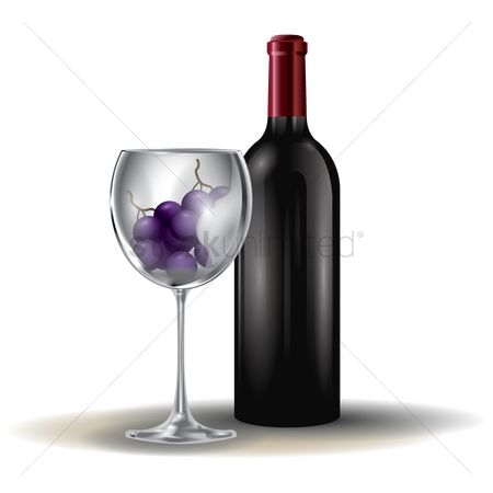 Grapes : Wine bottle and grapes in glass