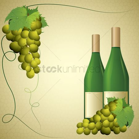 Poster : Wine bottle and grapes