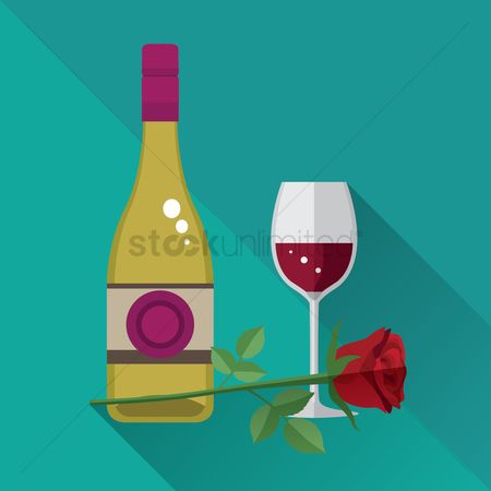 Red wines : Wine bottle with glass and flower