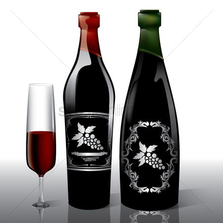 Red wines : Wine bottles and glass