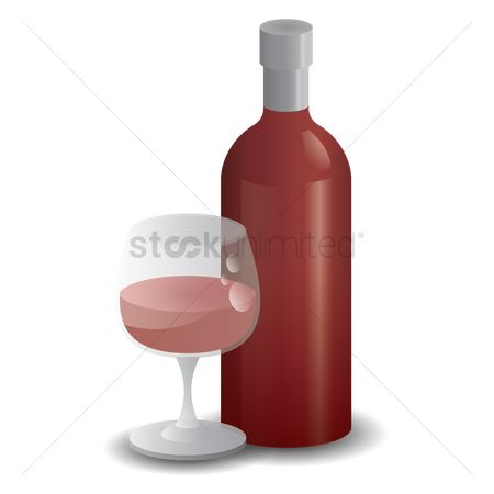 Red wines : Wine glass and a bottle