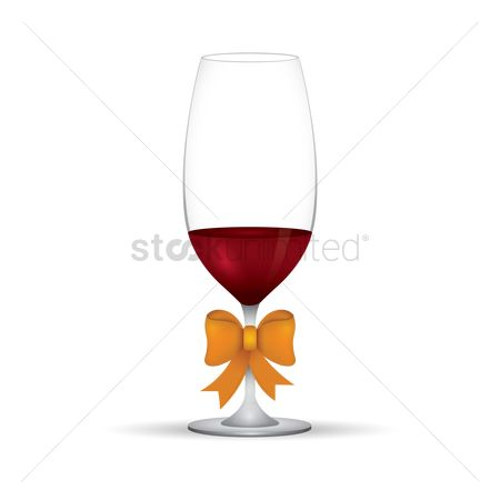 Red wines : Wine glass with ribbon