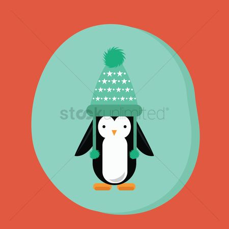 Penguins : Winter penguin with hat