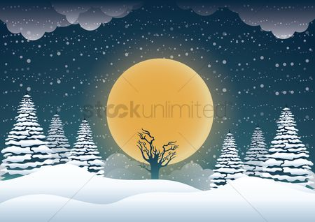 Moon : Winter wallpaper
