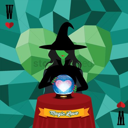 Valentine : Witch with glass ball