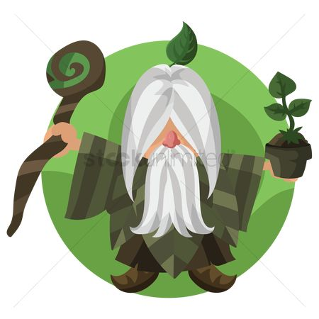 Background : Wizard holding pot plant and stick