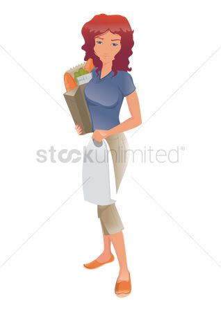 Hypermarket : Woman carrying groceries