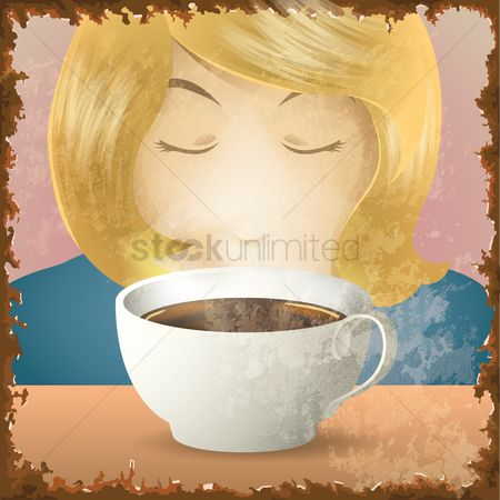 Coffee cups : Woman enjoying aroma of hot drink