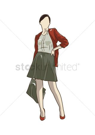 Posing : Woman in skirt posing
