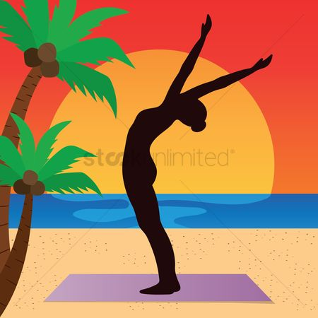 Arm : Woman practicing yoga in raised arm pose