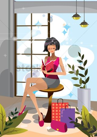 Lifestyle : Woman reading a book after shopping