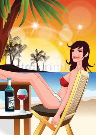 Swimsuit : Woman relaxing at the beach