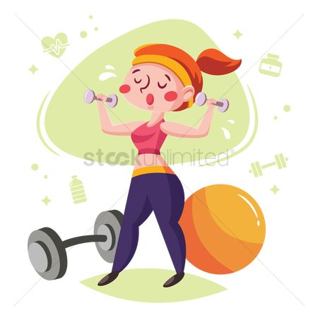Strength exercise : Woman training with dumbbells