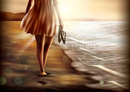 Footwears : Woman walking near beach
