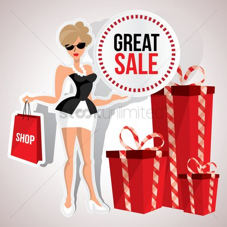 Shopping : Woman with great sale poster