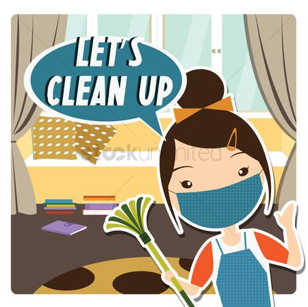 Cleaner : Women and a speech bubble