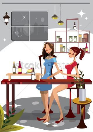Alcohols : Women in a bar