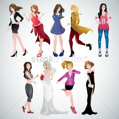 Fashions : Women in different clothing