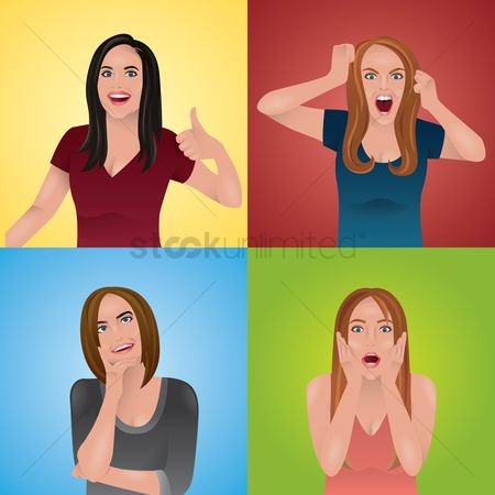 Contemplate : Women in different expressions and gestures