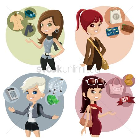 Shops : Women with various activities
