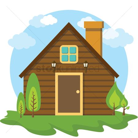Logs : Wooden house with chimney