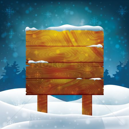 Panels : Wooden signboard covered in snow