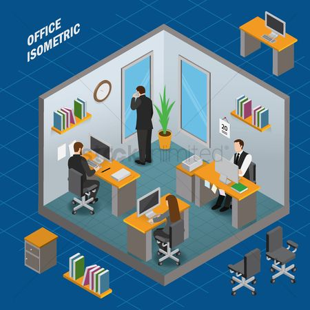 Workers : Work area office isometric
