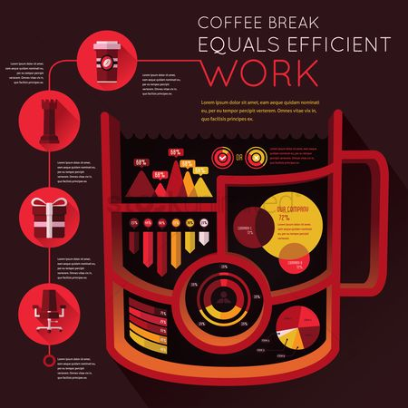 Coffee cups : Work efficiency infographic
