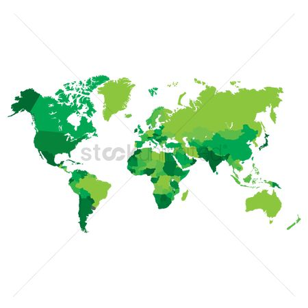 America : World map in green