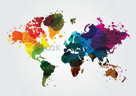 Globe : World map with colorful colors