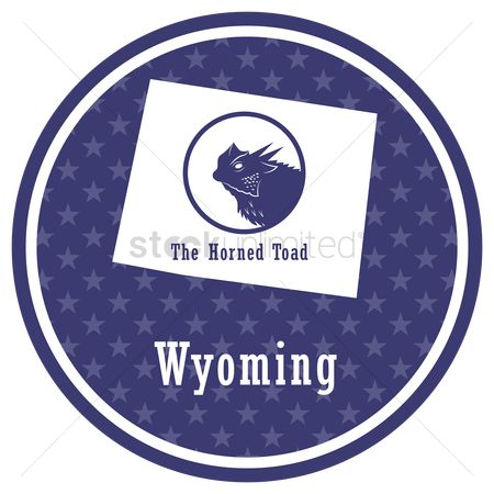 Horned : Wyoming state map with the horned toad