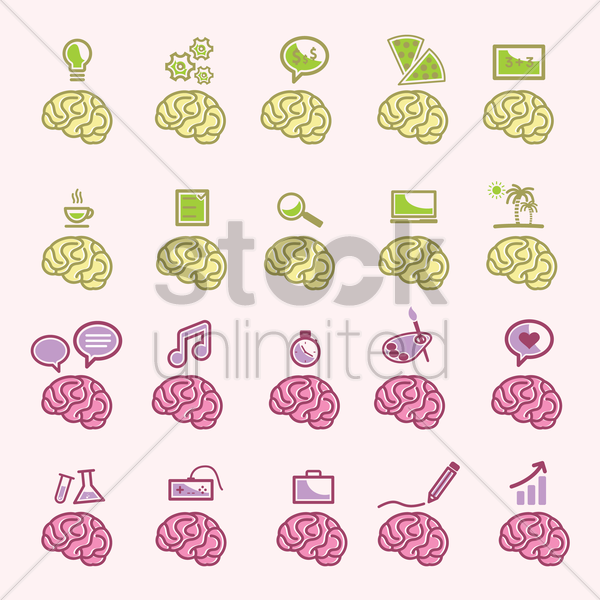 a collection of brains vector graphic