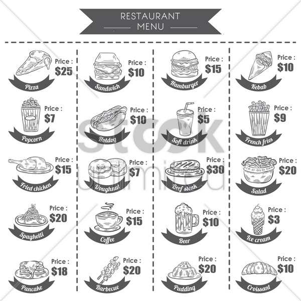 a collection of menu titles and prices vector graphic