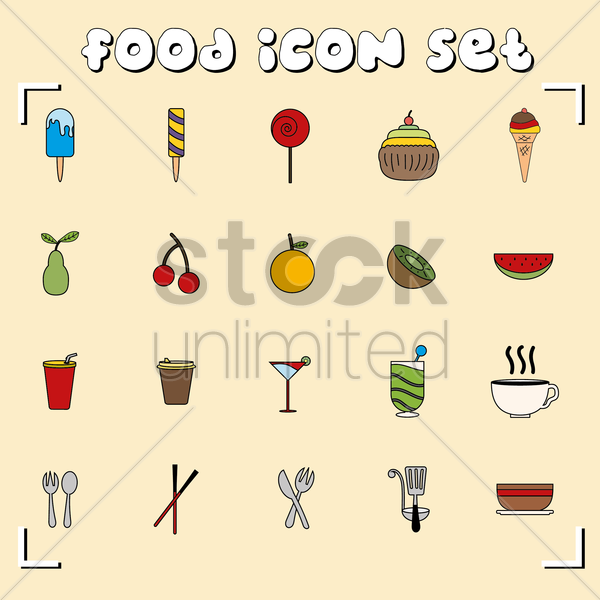 a set of food icons vector graphic