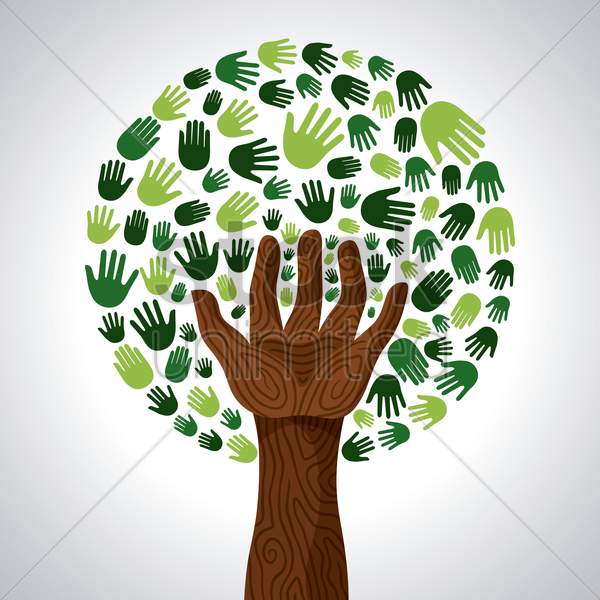 a tree made out of hands vector graphic
