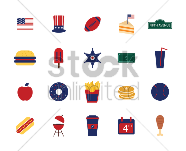 american culture icons vector graphic