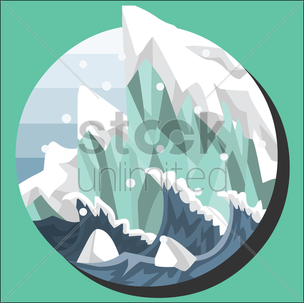 antarctic iceberg in the snow vector graphic