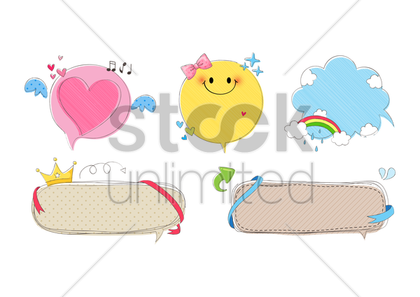 assorted speech bubbles vector graphic