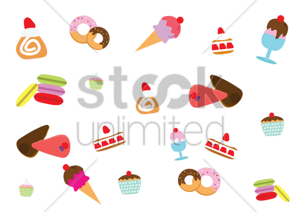assorted sweets and savory vector graphic