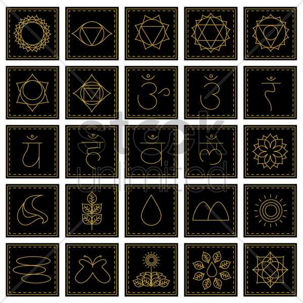 assorted yoga and zen set vector graphic