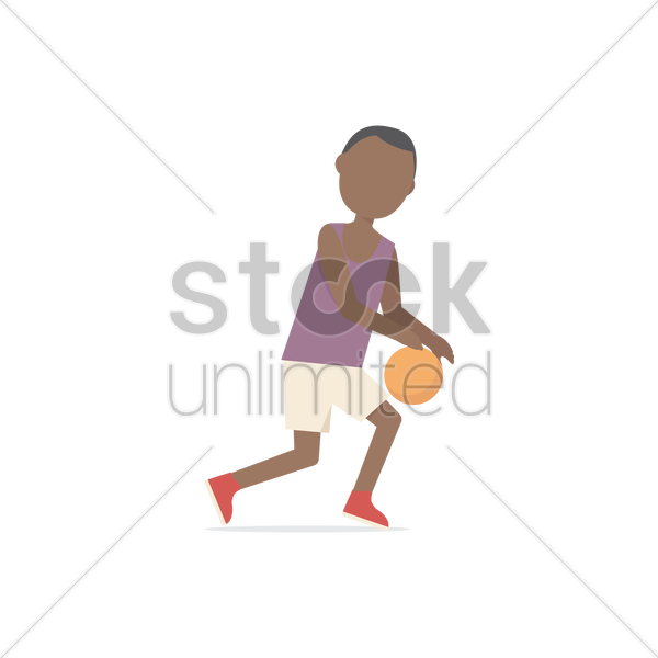Boy playing with basketball Vector Image - 1549389