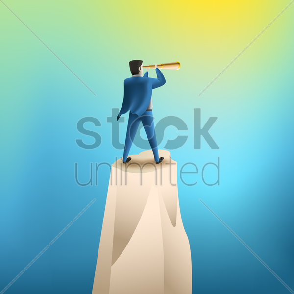 businessman looking through a telescope vector graphic