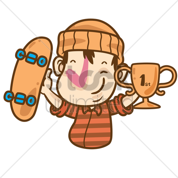 cartoon character with skateboard and trophy in hands vector graphic