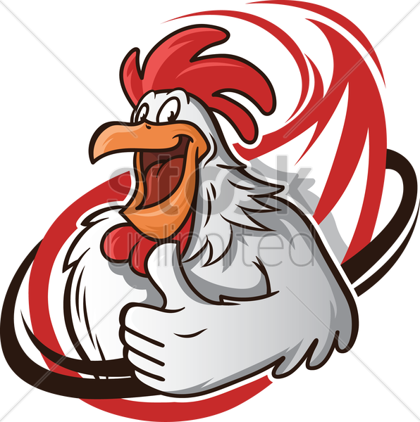 cartoon chicken with a thumbs up vector graphic