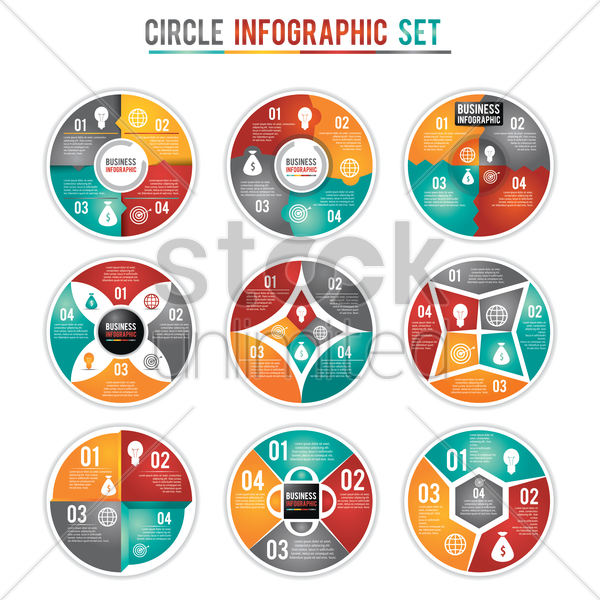 circle infographic set vector graphic